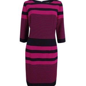 Tahari ALS | Petite Magenta + Navy Striped Dress